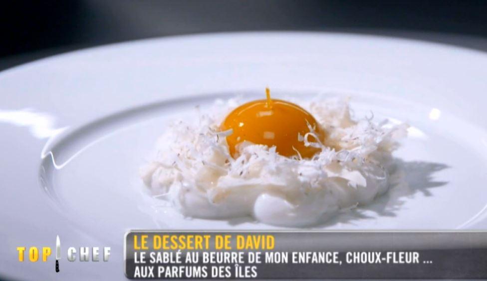 Dessert à la mangue chou-fleur de David Gallienne, gagnant de Top chef 2020, crédit m6